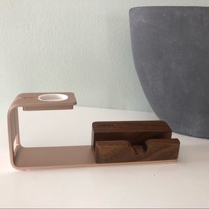 Rose Gold and Wood Apple Charging Stand Cradle